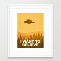 i want to believe Framed Art Prints featuring i want to believe by Jorsh Pena