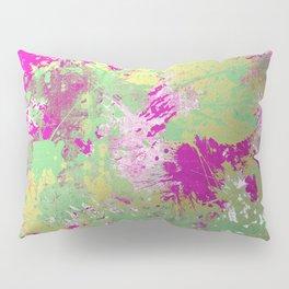 Metallic Pink Splatter Painting - Abstract pink, blue and gold metallic painting Pillow Sham