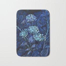 Hydrangea and Horseradish, Blue and Black Bath Mat