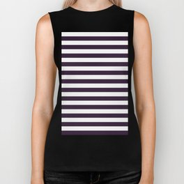 Narrow Horizontal Stripes - White and Dark Purple Biker Tank