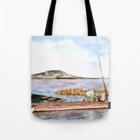 fishing Tote Bags featuring Fishing by Vargamari