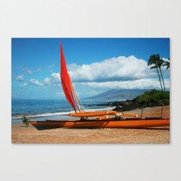 Hina Wāʻapea Sailing Canoe  Polo Beach Wailea Maui Hawaii Canvas Print