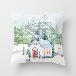 Country Church in Snow Throw Pillow