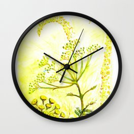 Tansy and Great mullein Wall Clock