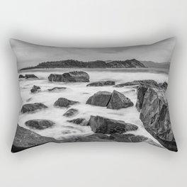 Rocky Ocean Black And White Rectangular Pillow