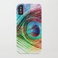 peacock feather iPhone & iPod Cases featuring Peacock Feather by Klara Acel