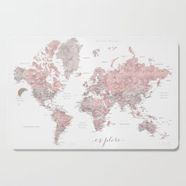 Explore - Dusty pink and grey watercolor world map, detailed Cutting Board