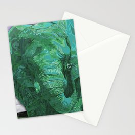 Light green painted Elephant art Stationery Cards