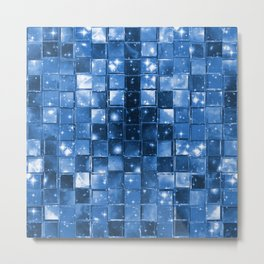 Blocky Blue Stars Metal Print