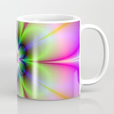 Neon Flower in Green and Pink Mug