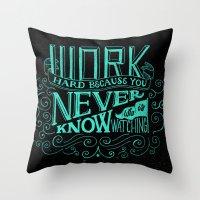 work hard Throw Pillows featuring Work Hard by Scott Biersack