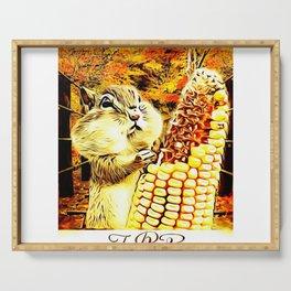 A Squirrel and a Corn Cob 01 Serving Tray