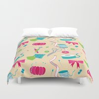 sewing Duvet Covers featuring Sewing Session by Valentina Cariel