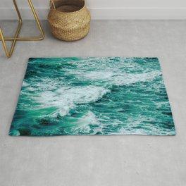 Teal Ocean Sea Waves - Summer Tropical Beach Rug