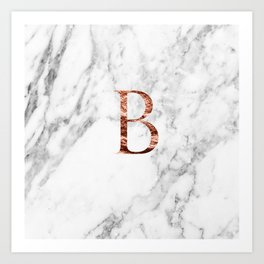 Monogram rose gold marble B Art Print