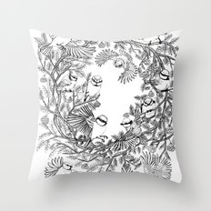 Birds tree botanical pattern Throw Pillow