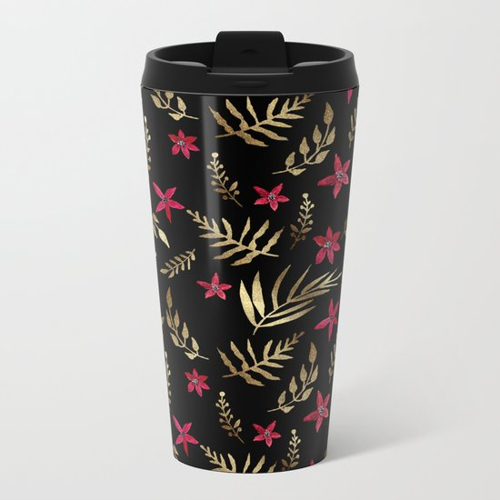 Golden palm tropical glitter leaves and red flowers on black Metal Travel Mug