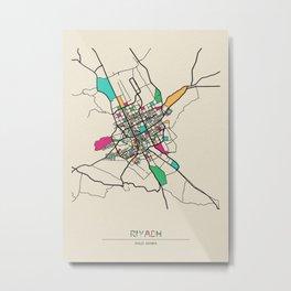 Colorful City Maps: Riyadh, Saudi Arabia Metal Print