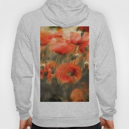 Poppies Watercolor Smudge Hoody