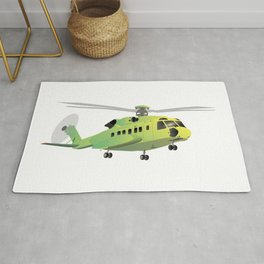 Green and Yellow Helicopter Rug