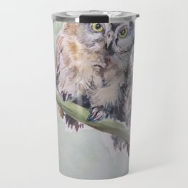 TWO CUTE OWLS Wildlife birds in the forest Watercolor painting Travel Mug