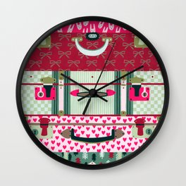 Pink patterned suitcases Wall Clock