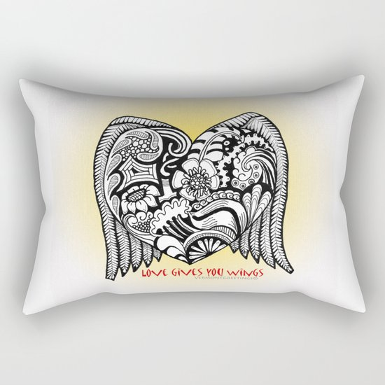 Love Gives You Wings A Zentangle Illustration for Lovers Rectangular Pillow