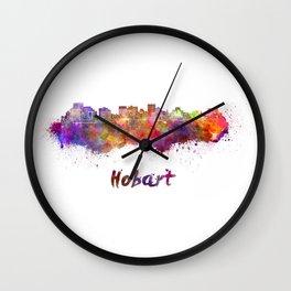Hobart skyline in watercolor Wall Clock