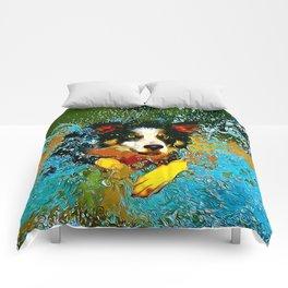 border collie jumping in water vector art Comforters