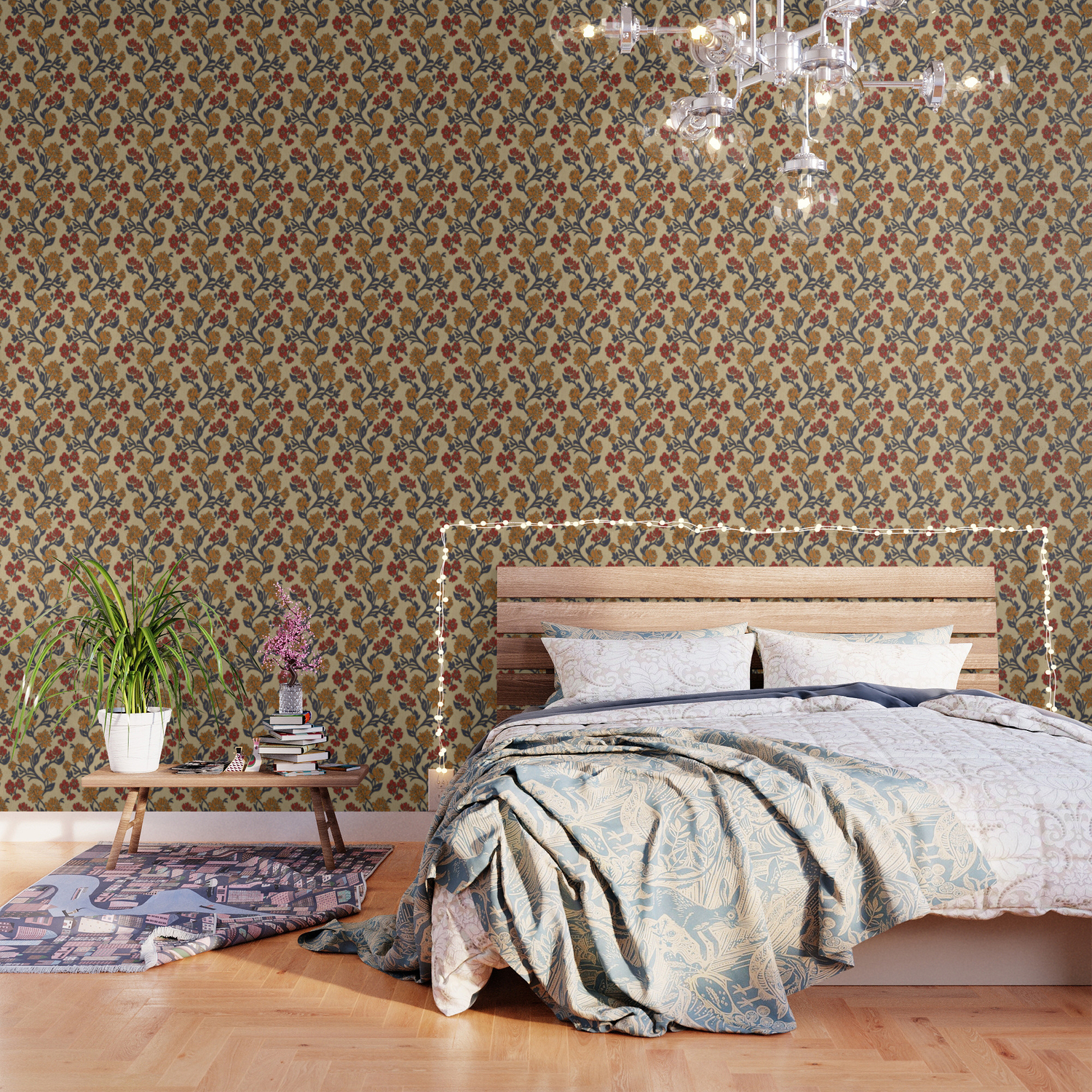 Vintage Victorian Floral Upholstery Fabric Light Background