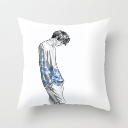 FLOWER BOY TWO: BLUE Throw Pillow
