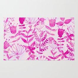 Watercolor Floral & Birds II Rug