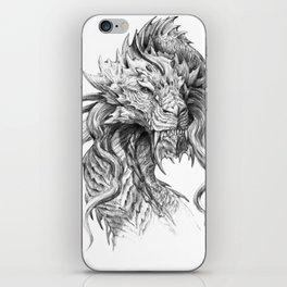 Dark Side Japanese Dragon portrait   Graphite Pencil art iPhone Skin