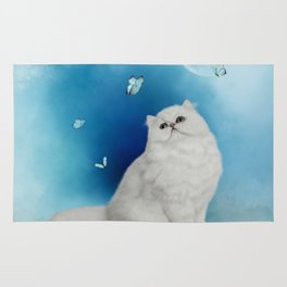 Cute chinchilla cat with butterflies Rug