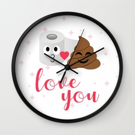 Poop and toilet tissue couple in romantic mood Wall Clock