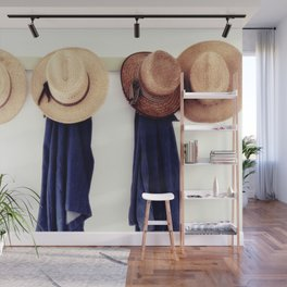 Men's straw hats, hanging inside the farmhouse at Yoder's Amish Home Wall Mural