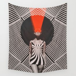 RED LAZER WOMAN Wall Tapestry