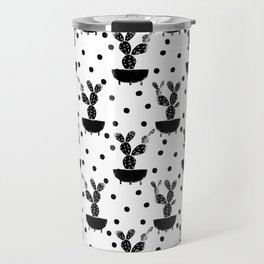 Cactus linocut houseplant cute black and white must have trendy lino print home decor dorm college Travel Mug