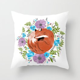 Sleepy fox in a bed of flowers Throw Pillow