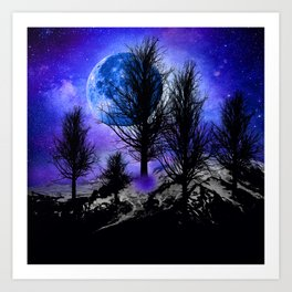 NEBULA STARS MOON BLACK TREES MOUNTAINS VIOLET BLUE Art Print