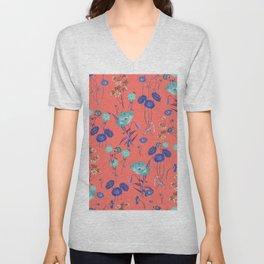 Living Coral Floral Pattern.Color of year 2019 Unisex V-Neck