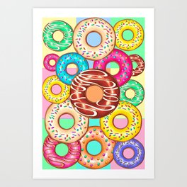 Donuts Punchy Pastel flavours Pattern Art Print