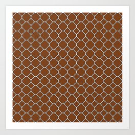 Chocolate Brown Clover Pattern Art Print