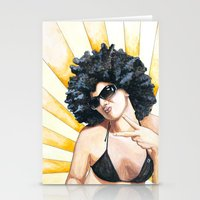 afro Stationery Cards featuring Afro by Allysia Newton