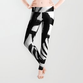 Black and white abstract mid century Leggings