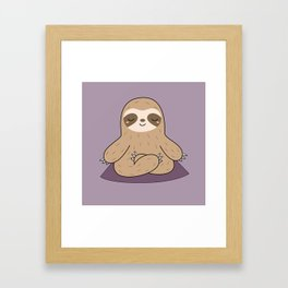 Kawaii Cute Yoga Sloth Framed Art Print