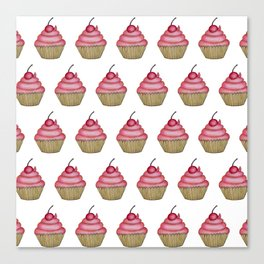 Cute Pink Cupcake with Cherry on Top Canvas Print