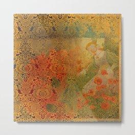 Poppies Deluxe:  Art Nouveau poppy- woman picking bouquet- scarlet & gold damask - ornate - wo Metal Print