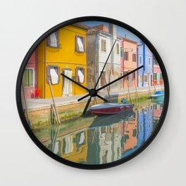 colourful fishermen houses in Burano Venice Italy Wall Clock