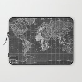 Black and White Vintage World Map Laptop Sleeve
